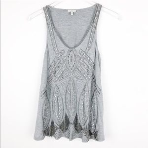 Joie Talitha Gatsby Embellished Beaded Tank Top